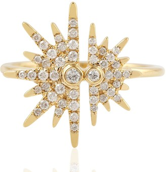 Artisan 18Kt Yellow Gold Pave Diamond Starburst Shape Ring
