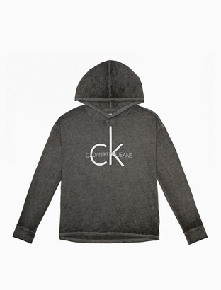 Calvin Klein Heritage Logo Burnout Pullover Hoodie