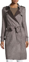 Neiman Marcus Faux-Suede Belted Trench Coat, Taupe