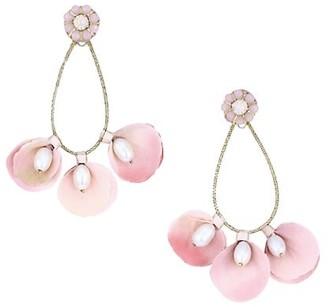 Ranjana Khan Bridal Rice Pearl, Swarovski Crystal & Petal Beaded Drop Earrings