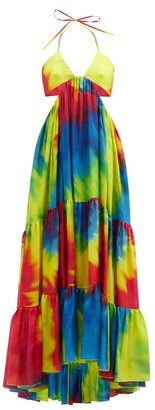 Alexandre Vauthier Cutout Tie-dye Silk-charmeuse Maxi Dress - Yellow Multi