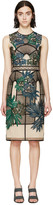 Erdem Beige and Black Embroidered Brenton Dress