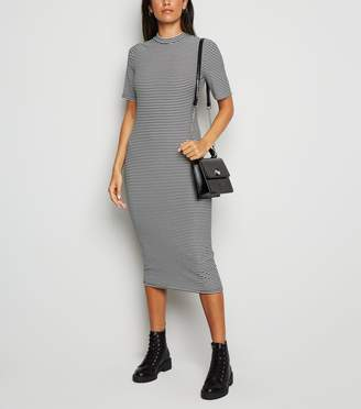 New Look Ribbed Stripe High Neck Midi Dress