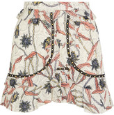 Isabel Marant Ugi Embellished Ruffled Printed Cotton Mini Skirt - Ecru