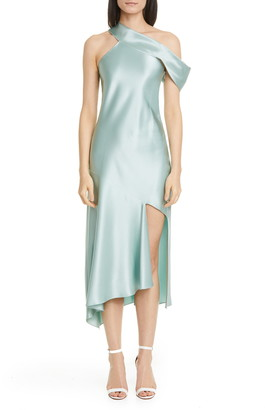 Cushnie One-Shoulder Silk Satin Slipdress
