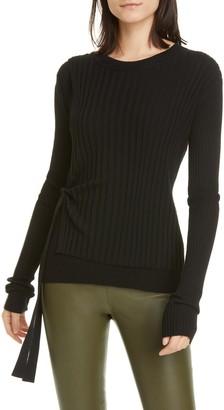 Helmut Lang Ribbed Side Tie Wool Sweater