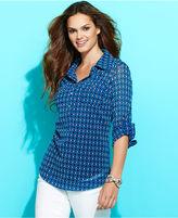 INC International Concepts Petite Top, Long-Sleeve Printed Camp Shirt