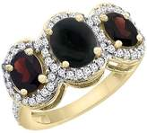 PIERA 10K Yellow Gold Natural Onyx & Garnet 3-Stone Ring Oval Diamond Accent, size 6.5