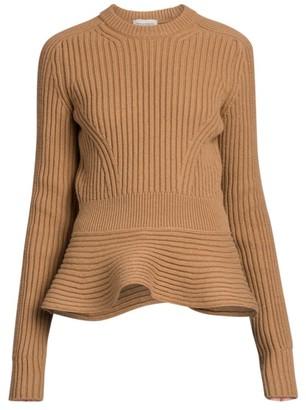 Alexander McQueen Ribbed Peplum Crewneck Sweater