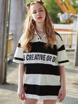[Unisex] Stripe Collared T Shirts Black