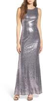LuLu*s Women's Sleeveless Sequin Drape Back Gown