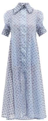 Thierry Colson Tifenn Geometric Print Cotton Blend Dress - Womens - Blue