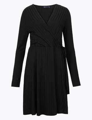 Marks and Spencer Ribbed Fit & Flare Wrap Dress