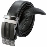 K&S Ks Mens Business Dress Leather Adjustable Belt With Auto Lock Buckle