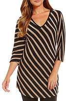 Peter Nygard 3/4 Sleeve V-Neck Striped Tunic
