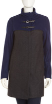 Neiman Marcus Colorblock Toggle Coat, Gray/Cobalt