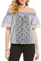 Takara Striped Embroidered Short-Sleeve High-Low Off-The-Shoulder Top