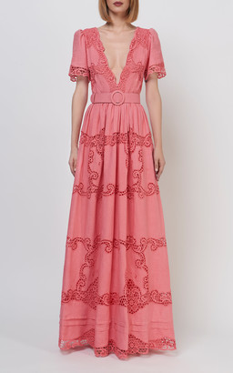 Costarellos Loanna Belted Linen Gown