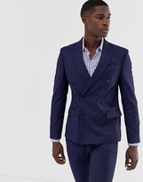 Moss Bros slim fit double breasted suit jacket with stretch in navy