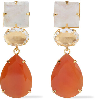 Bounkit Convertible 14-karat Gold-plated, Moonstone, Quartz And Carnelian Earrings