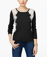 INC International Concepts Lace-Trim Sweater, Only at Macy's