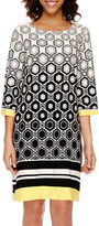 Studio 1 3/4-Sleeve Geo Print Shift Dress