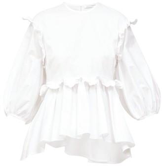 Cecilie Bahnsen Marie Tie-back Ruffled Poplin Blouse - White