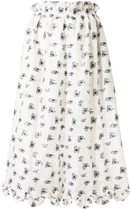 Cecilie Bahnsen Embroidered-Pattern High-Waist Skirt