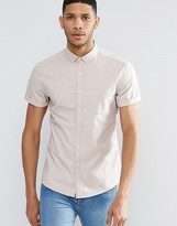 Asos Skinny Oxford Shirt In Stone With Short Sleeves