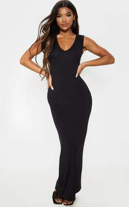 PrettyLittleThing Black V Neck Maxi Dress