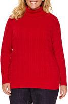 ST. JOHN'S BAY St. John's Bay Long Sleeve Turtleneck Pullover Sweater-Plus