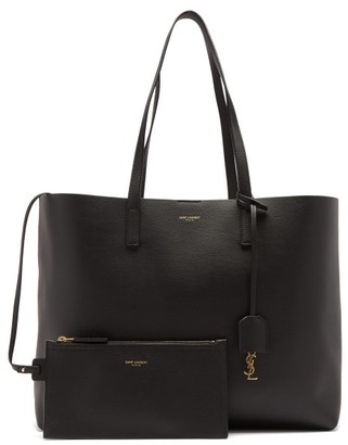 Saint Laurent Shopping Grained-leather Tote Bag - Black