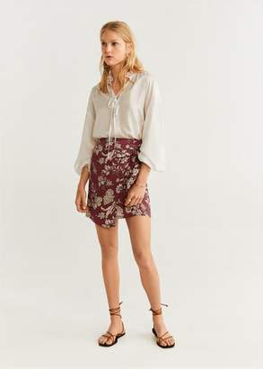MANGO Printed miniskirt maroon - XXS - Women
