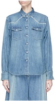 Sacai Pleated stripe poplin back denim shirt