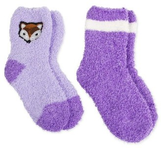 Faded Glory Girls Socks, 2 Pack Warm, Soft Fuzzy Sequin, Sizes S-L