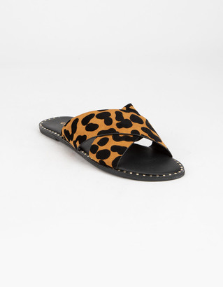Qupid Criss Cross Womens Leopard Sandals