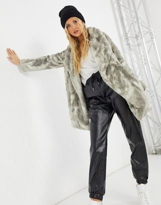 BB Dakota tie dye faux fur coat in grey