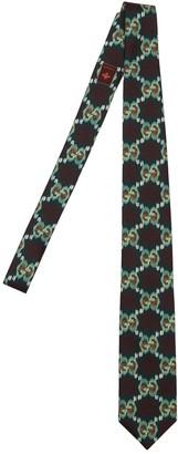 Gucci 8cm Gg Vintage Printed Silk Tie