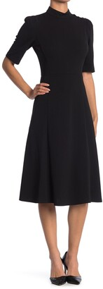 Donna Morgan Mock Neck Elbow Length Fit & Flare Dress