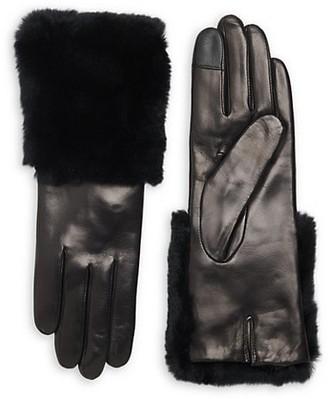 Carolina Amato Rabbit Fur-Trim Leather Gloves