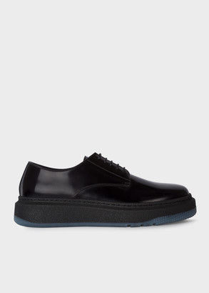 Men's Black 'Soane' Leather Derby Shoes With Rubber Soles