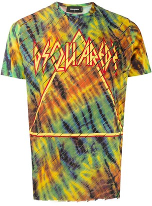 DSQUARED2 diagonal stripes printed logo T-shirt