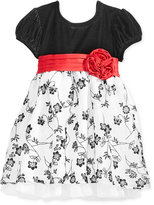 Sweet Heart Rose Flocked Velvet Special Occasion Dress, Little Girls (2-6X)