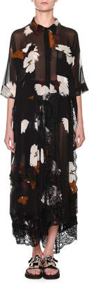 Antonio Marras Short-Sleeve Printed Chiffon Midi Shirtdress with Lace