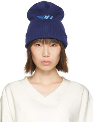 Off-White Off White Blue Embroidered Beanie