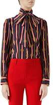 Gucci Bow-Neck Long-Sleeve Button-Front Silk Crepe de Chine Blouse