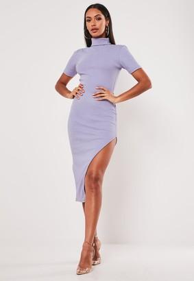 Missguided Lilac Rib Roll Neck Side Split Midi Dress