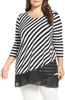 Vince Camuto Plus Size Women's Palais Stripe Contrast Hem Top