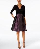 Alex Evenings Faux-Wrap Brocade Party Dress