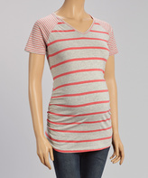 Coral & Heather Gray Stripe Maternity V-Neck Top